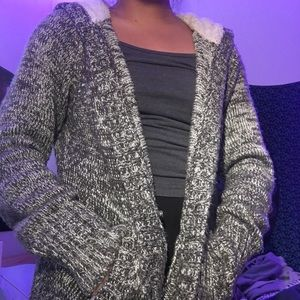 Garage grey knit button up sweater